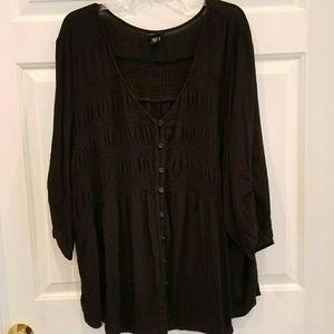Torrid/ black knit button down top